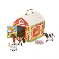 Drewniana stodoła z zamkami manipulacyjnymi i zwierzątkami Melissa& Doug